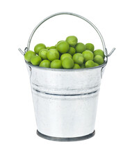 Metal Bucket With Green Peas Isolated On White Background.