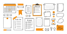 Hand Drawn Memo Paper Sheets, Sticky Note, Reminder, To Do List, Calendar. Bullet Journal Elements In Doodle Style. Vector Illustration In White Background.