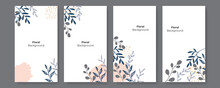 Vector Set Of Abstract Floral Blob Brush Organic Scandinavian Boho Bohemian Beige Creative Backgrounds In Minimal Trendy Style With Copy Space For Text - Design Templates For Social Media Stories