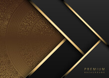 Vector Luxury Tech Background. Stack Of Black Paper Material Layer Gold Stripe. Arrow Shape Premium Wallpaper With Golden Radial Mandala Pattern Background