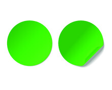 Blank Green Curled Sticker Mockup Isolated On White Background. 3d Rendering