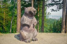 Wooden Sculpture Of A Beaver In The Krasnoyarsk Pillars Nature Reserve