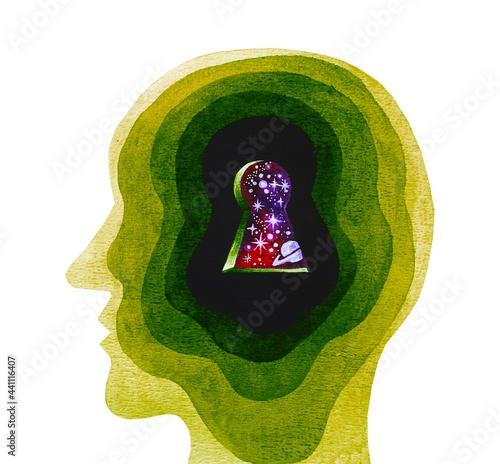 Fotografie, Obraz Disegno grafico sfondo bianco meditazione rilassamento concentrazione
