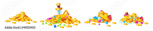Photo Treasure, golden coins, crystal gems, crown, sword in pile of gold, goblet with