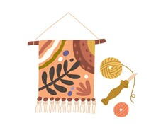 Gobelin Tapestry Hanging On Stick. Traditional Art Of Embroidered Textile. Fancywork On Fabric. Modern Handwork. Flat Vector Illustration Of Handicraft Isolated On White Background