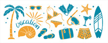 """Set Of Textured Summer Holidays Prints. Palm Tree, Sunglasses, Swimsuit, Swimming Trunks, Diving Fins And Mask, Flip Flops, Shell, Starfish, Suitcase, Cocktail, Surfboard, Lettering """"Vacation"""""""