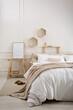 Leinwandbild Motiv Stylish room interior with big comfortable bed
