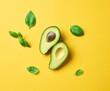 Leinwandbild Motiv fresh avocado and basil leaves