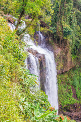Scenic waterfall in the middle of a forest in Pakse, Laos, Southeast Asia