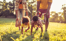 African American Family Having Fun In Nature. Close Up.