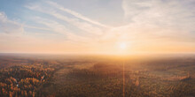 Large Panoramic Autumn Landscape At Sunset Aerial View