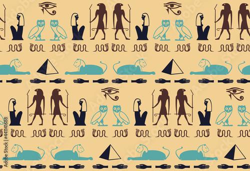 Fotografie, Obraz Ethnic egyptian hieroglyphics script elements