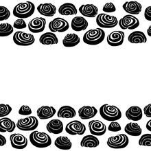 Cinnamon Bun Silhouettes Horizontal Border, Spiral Baking Decorative Frame For Design