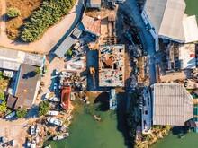 Aerial View Of A Shipyard Along The Lagoon In Amora, Setubal, Portugal.