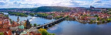 Prague Scenic Spring Aerial View Of The Prague Old Town Pier Architecture Charles Bridge Over Vltava River In Prague, Czechia. Old Town Of Prague With The Castle In The Background, Czech Republic.