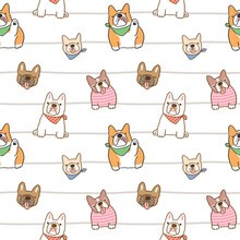 Seamless Pattern Of Cute French Bulldog Illustration Design On White Background With Wavy Lines