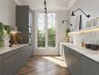 Leinwandbild Motiv 3d render of a Parisian minimalist kitchen with grey cabinets and white marble countertop and wood herringbone wood floor