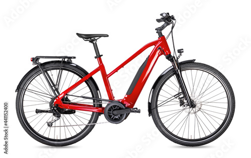 red modern mid drive motor city touring or trekking e bike pedelec with electric engine middle mount. battery powered ebike isolated white background. Innovation transportation concept.
