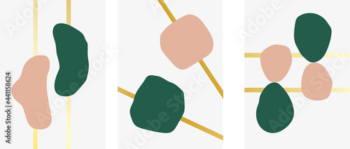 Collection of modern minimalistic abstractions with geometric shapes with gold on gray background