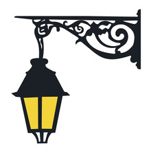 Decorative, Street, Wall Lamp Isolated