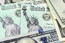 Macro View Of The Statue Of Liberty On United States Treasury Checks.