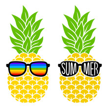 Pineapple With Sunglasses And Phrase Summer. Vector Fruit. Rainbow Tropical Illustration. Flat Style. For T-shirts,mugs,sublimation. Isolated On White Background. Hand-drawn Color Summer Symbol.