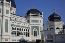 Low Angle View Of Al Mashun Grand Mosque Building Against Sky
