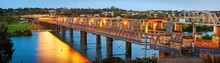 The First Bridge To Span The Murray River At Twilight