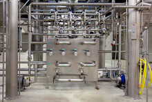 Interior Of Brewery, Control Unit For The Brewing Process