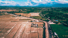 Aerial View, Rice Field After Harvest Is Finished Will Spread The Soil Again