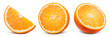 canvas print picture - Orange slice isolate. Orange fruit half and slice set on white background. With clipping path. Full depth of field.