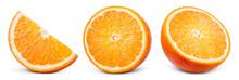 Orange Slice Isolate. Orange Fruit Half And Slice Set On White Background. With Clipping Path. Full Depth Of Field.