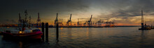 Harbor Panorama In The Evening In Hamburg