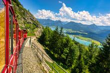 Schafberg Railway, A Metre Gauge Cog Railway In Upper Austria And Salzburg, From Sankt Wolfgang Im Salzkammergut Up To The Schafberg. Austria, Salzkammergut, Schafberg, Schafbergbahn, Cog Railway.