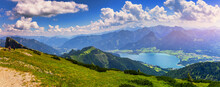 View Of Wolfgangsee Lake From Schafberg Mountain, Austria. Wolfgangsee Lake From Alp Mountain Schafberg. Sankt St. Wolfgang Im In Salzkammergut, Ried, Salzburgerland, Austria.