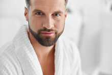 Positive Man With Styish Waits For Beauty Procedures In Cosmetologycal Clinic
