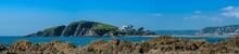 Panorama Of  Burgh Island From Bantham Beach, Kingsbridge, Devon, England