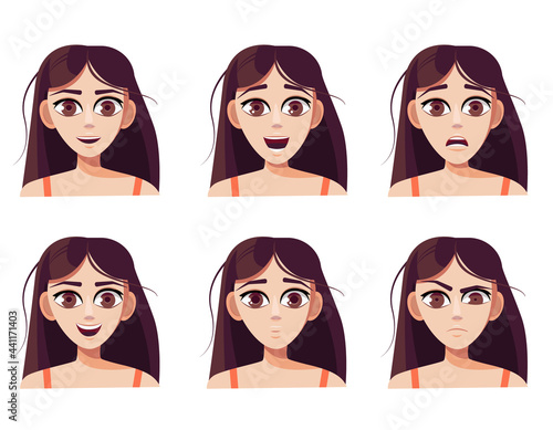 Fotografia, Obraz Set of cute caucasian brown-haired girl with different facial expressions