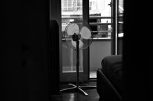 An Indoor Electric Fan In The Bedroom (Marche, Italy, Europe)