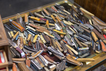 High Angle View Of Knives On Table