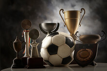 Football And Group Of Trophy