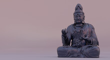Seated Bodhisattva Guanyin 12th Century Statue Digitally Rendered With Stone Material And Gradient