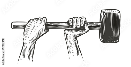 Murais de parede Arms raised up with sledge hammer tool