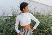Trendy Black Woman Near Ornamental Grass On Street