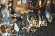 Close-up Of Gold Crystal Chandeliers Electric Lamp