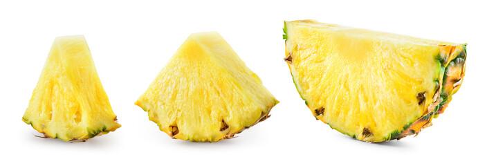Pineapple slices isolate. Cut pineapples on white. Fresh pineapple set. Full depth of field.