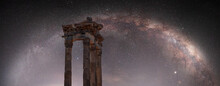 Columns Of The Ancient City Of Pergamon, Milky Way Galaxy In The Background - Bergama, Turkey