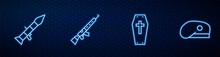 Set Line Coffin With Cross, Rocket Launcher, Sniper Rifle Scope And Military Beret. Glowing Neon Icon On Brick Wall. Vector