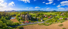 Aerial View Of Sloup Castle In Northern Bohemia, Czechia. Sloup Rock Castle In The Small Town Of Sloup V Cechach, In The Liberec Region, North Bohemia, Czech Republic.