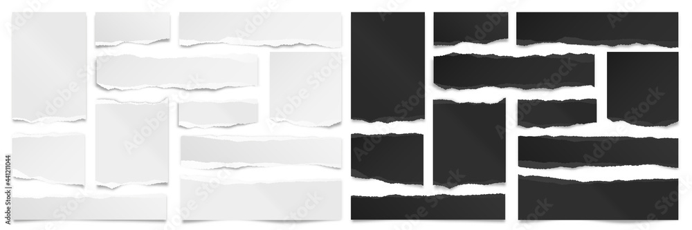 Ripped black and white paper strips. Realistic paper scraps with torn edges. Sticky notes, shreds of notebook pages. Vector illustration. - obrazy, fototapety, plakaty